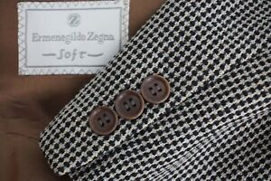 Ermenegildo Zegna Gray Black Woven Tweedy Wool Sport Coat Jacket Sz 38R