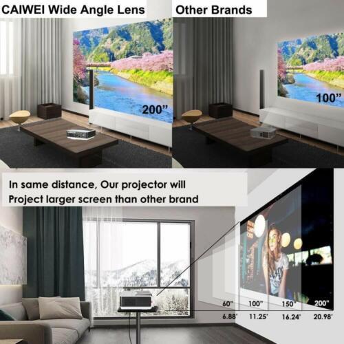 LED HD Android WiFi Heimkino Beamer 1080P Blue-tooth Projektor HDMI LCD USB VGA