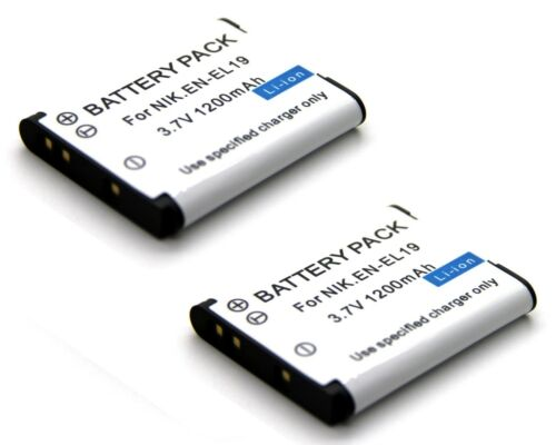Cámara Digital 2 xBattery Para EN-EL19 Nikon Coolpix S4200 S4400 S5200 S5300 S640