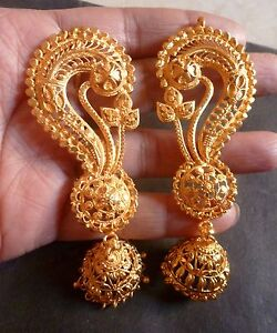 Image Is Loading Indian Wedding 22k Gold Plated Full Ear Earrings