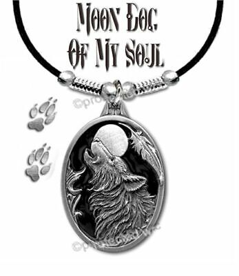 FREE SHIP  #LthE/' LARGE WOLF MOON DOG OF MY SOUL NECKLACE WOLVES WESTERN ART