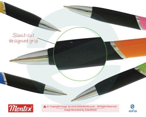 10 x 0.7mm Fine Tip MONTEX Trick Retractable BLUE Ball Point Pens Slant-Cut Grip