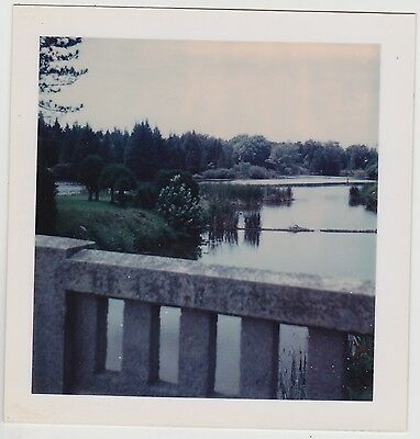 Square Vintage 70s Polaroid PHOTO River From Riverside Cemetery Bridge Canada