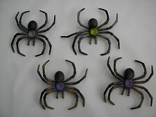 4 Halloween black scary rubber spiders 10cms x 9 cms