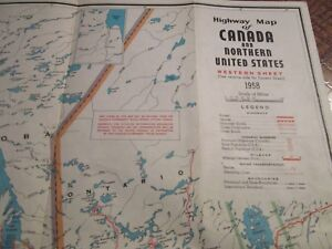 Details about Antique Vtg 1958 Canada Highway Map w/ Northern United States