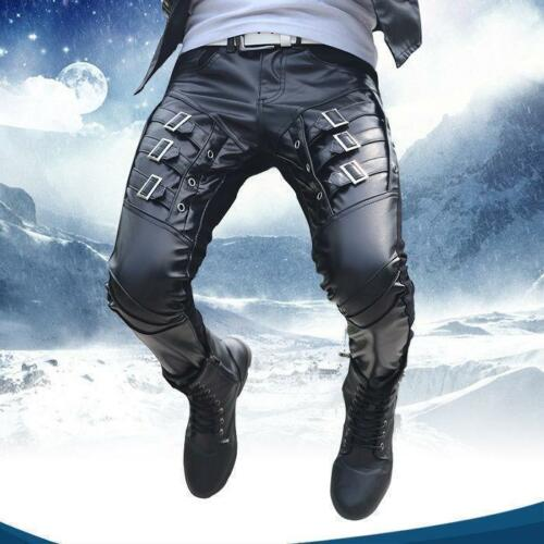 Hot Buckle Gothic Motorcycle Mens Faux Leather skinny  Trousers casual Pants 354