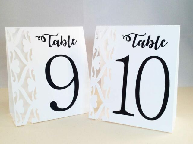 White Table Numbers 1 to 10 Tent Style Wedding Birthday Party Table Decorations