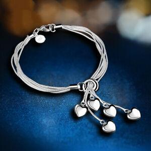 Charm-Fashion-Love-Heart-Bracelet-Bangle-925-Silver-Women-Wedding-Jewelry-Gifts