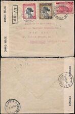 Congo Belga 1944 censurado correo aéreo a Sudafrica