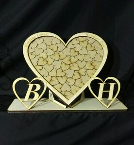 Personalised-Wedding-Drop-Box-Heart-Rectangle-Guest-book-WITH-STAND-WOW