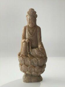 Japanese-Stone-Buddhist-Statue-Okimono-Vtg-Kannon-God-Pedestal-Thin-o060