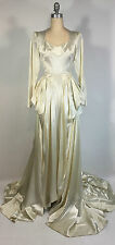 Vintage 1950s Ivory satin dramatic draping cathedral train Wedding Dress & Crown