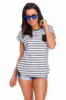 Casual Striped T-Shirt With Pocket Crew Neck Short Sleeve Top Sizes 8-14 FB71