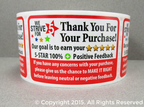 250 ROLL Thank You For Your Purchase Order Shipping Labels Stickers 2x3