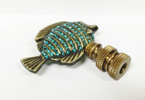Highly detailed casting Lamp Finial-TROPICAL FISH w//Aqua rhinestones-AB Finish