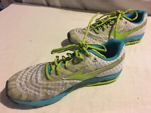 Mizuno-Wave-U4ic-Women-039-s-Size-9-5-Gray-Lime-Green-Blue-Athletic-Running-Shoe