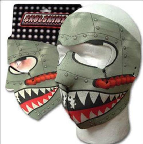 Grey Silver Warbird Air Force Neoprene Face Mask ATV Ski Biker Military Retro
