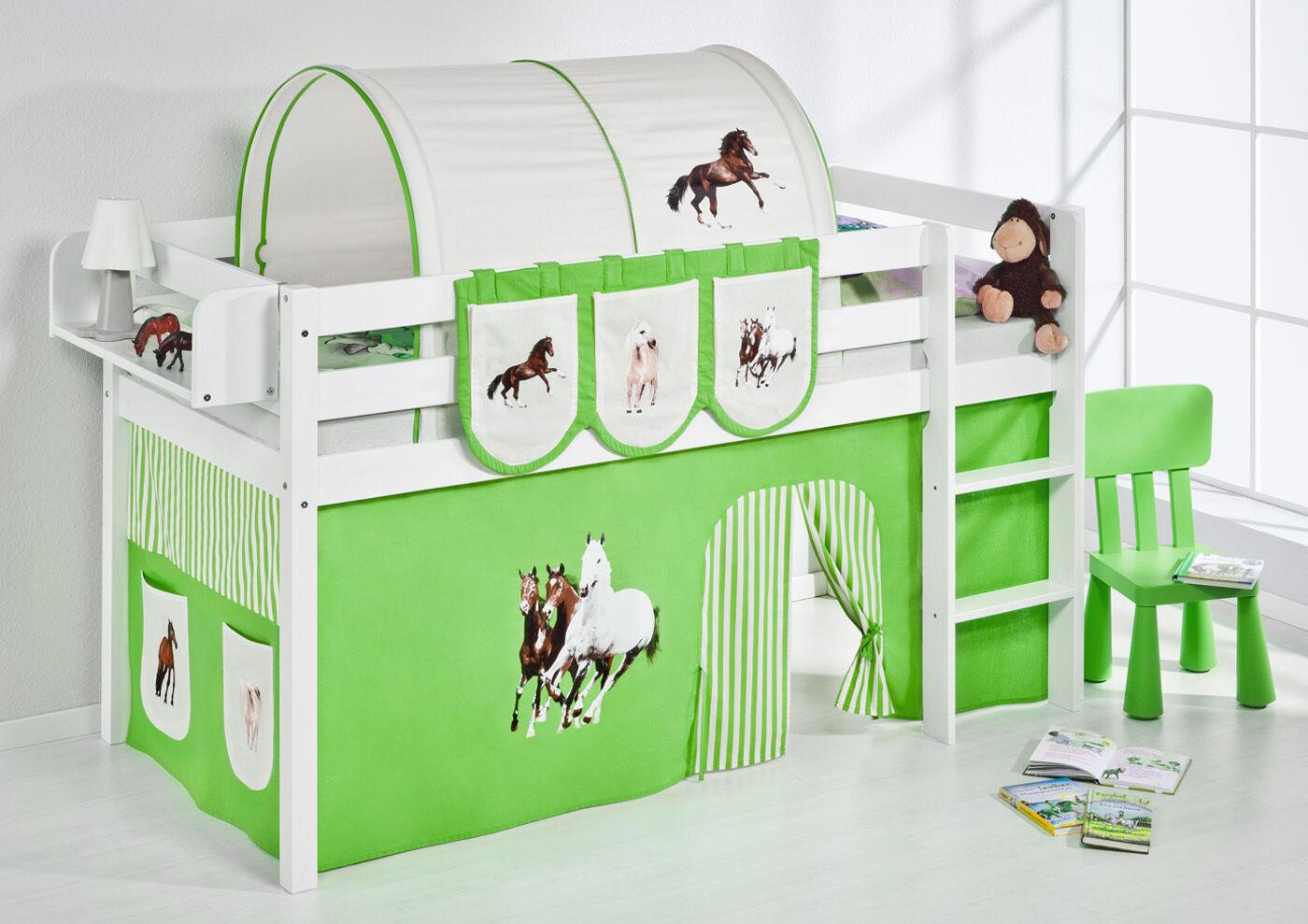 Lit Mezzanine de Lit Lit D'Enfant Jelle 190x90 cm Blanc Enfants Lilo Cheval Vert