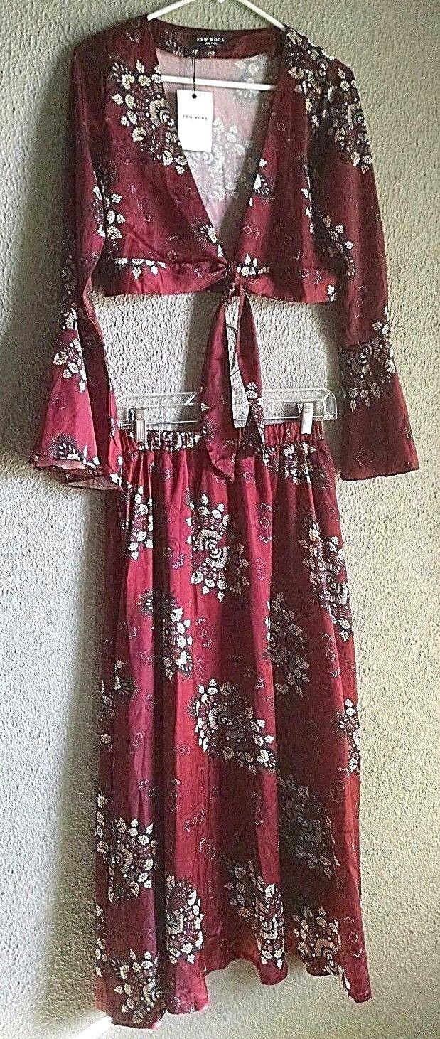 Few Moda-Women's 2 Piece-Crop top & Skirt-Dark Red Print-Bell Sleeve-Size Large