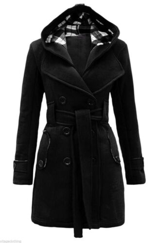 New Women Check Hood Duffle Style Hooded Fleece Belted Long Coat *LICK*