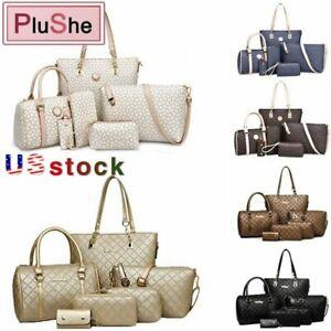6Pcs//Set Women/'s Faux Leather Shoulder Bag Handbag Wallet Purse Tote Key Bag US