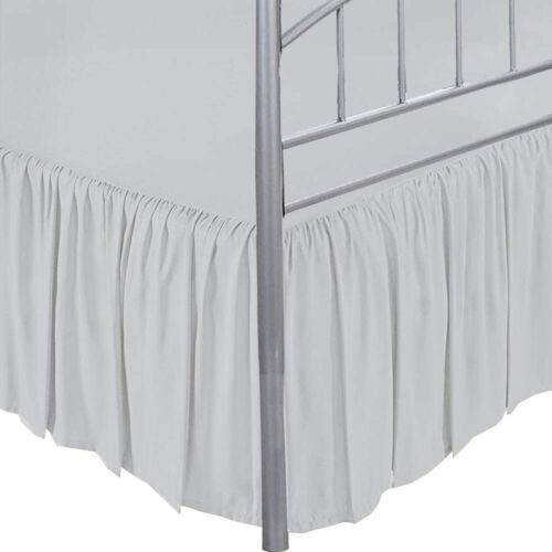 Bed Skirt Ruffle with Split Corner Egyptian Cotton Silver 400 TC Au Size