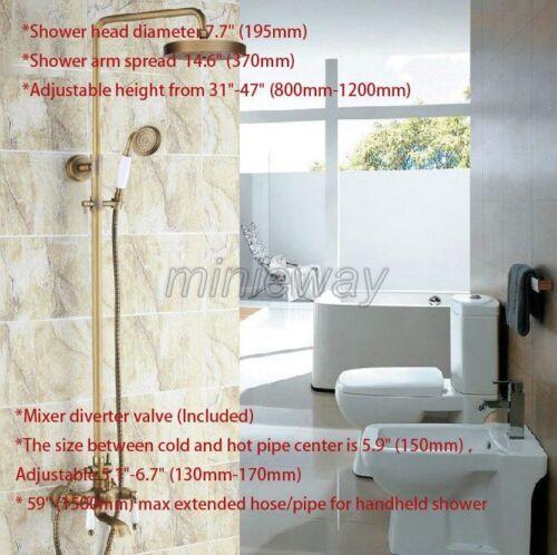 Antique Brass Bathroom Rain Shower Faucet Set Dual Ceramic Lever Tub Tap mrs149