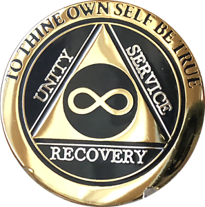 Infinity-AA-Medallion-Elegant-Black-Gold-Silver-Plated-Sobriety-Chip-Coin