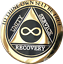 Infinity-AA-Medallion-Elegant-Black-Gold-Silver-Plated-Sobriety-Chip-Coin thumbnail 1