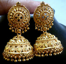 South Indian Bridal 22k Gold Plated 4 cm Long Ball Bead Drop Jhumka Earrings./