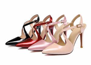 Ladies-Shiny-Synthetic-Leather-Strap-Shoes-High-Heels-Pumps-Sandals-AU-Size-s049