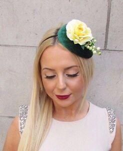 Emerald Green Yellow Flower Berry Fascinator Teardrop Races Vtg Hair Band 2476