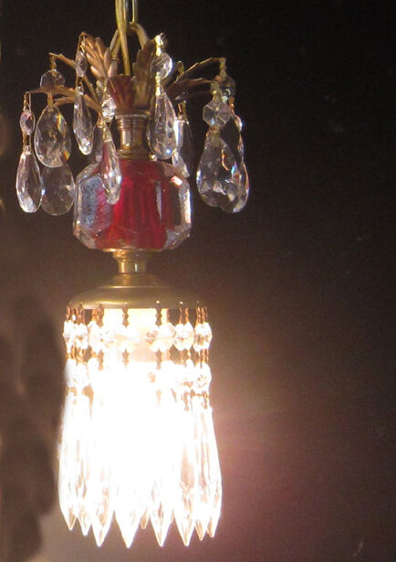 Vintage cranberry ruby Pressed glass pendant Foyer Brass hanging lamp chandelier