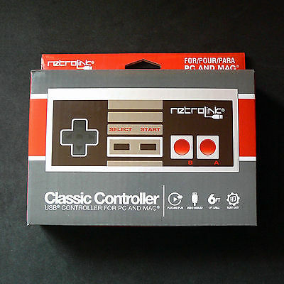 RetroLink RetroBit NES Nintendo PC Mac USB Classic Controller Gamepad Joystick