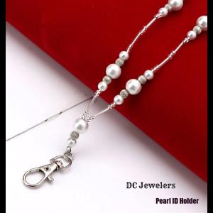 Pearl-Silver-Ladies-Women-039-s-Pretty-ID-Badge-Keys-Holder-Necklace-Lanyard-New