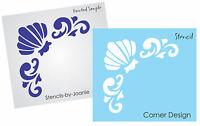 Beach Stencil Sea Shell Acanthus Swirl Corner Flourish Border French Art Signs