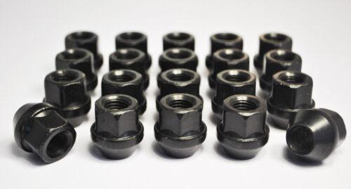 Set di 24 x M12 x 1.25 Nero 19mm Hex Lega Aperto Dadi della ruota SUBARU SUZUKI