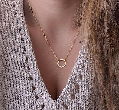 Hot Fashion Sexy Golden Metal Round Circle Statement Choker Necklace Free Ship