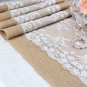 Image Is Loading 2 20 X Hessian Vintage Burlap Lace Table