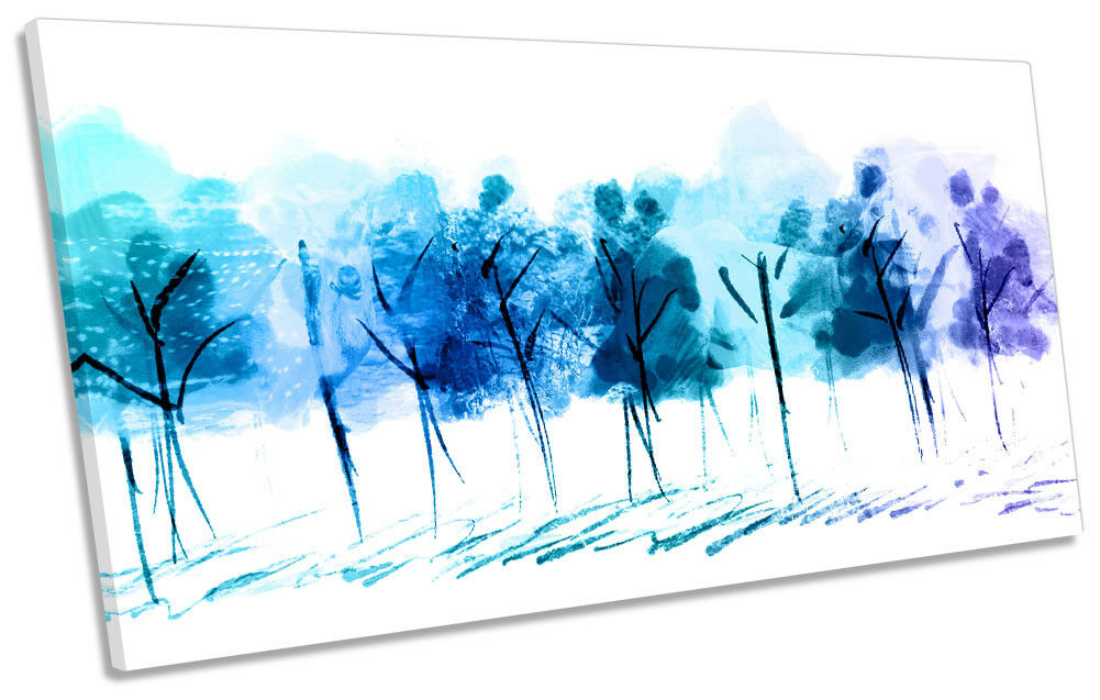 Blau Abstract Floral Trees PANORAMIC CANVAS WALL ARTWORK Print Art