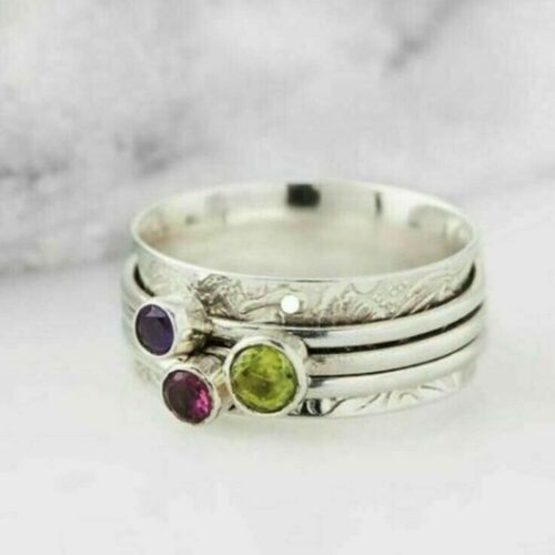 Amethyst Peridot Spinner Ring 925 Sterling Silver Spinner Ring All Size AM-673