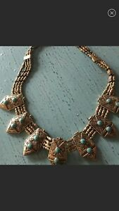 Free-People-260-Brass-amp-Turquoise-Necklace-NWT