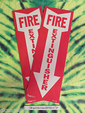 Lot Of 2 Self Adhesive Vinyl Fire Extinguisher Arrow Signs4 X 12 New