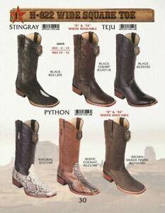 Los Altos Men's Genuine Lizard, Stingray Wide Square Toe Western Boots