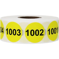 Yellow Amp Black Consecutive Number Inventory Labels 1001 2000 1 Inch Round