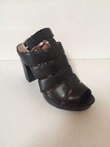 DKNY Lizzie Woman's Ankle Strap Block Heels Shoes Black US 8M 8.5M Mismatch