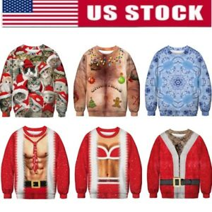 d4a8d699778a70 Image is loading UGLY-XMAS-CHRISTMAS-Hoodie-Vacation-Santa-Elf-Womens-