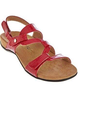 Vionic Sandalias Con Cintura-paros-A275725-rojo Croco Tamaño 10-NEW