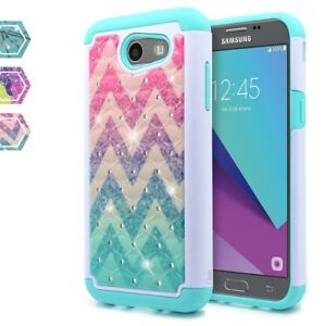 Details about For Samsung Galaxy J3 Emerge/J3 Prime/J3 Luna Pro Hybrid  Bling Jewel Hard Case