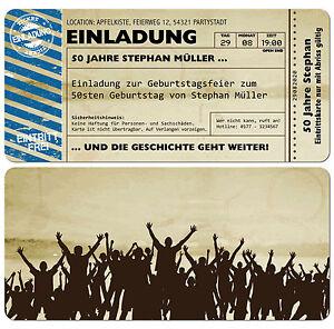 Schön Das Bild Wird Geladen Einladungskarten  Fuer Geburtstag Eintrittskarte Ticket Karte Einladung